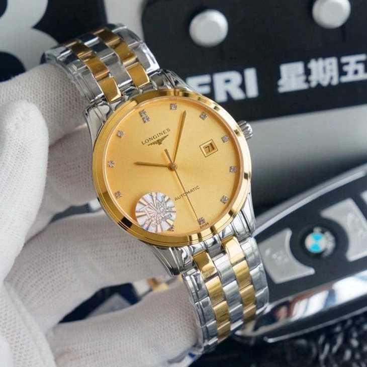 一比一复刻浪琴军旗系列18K间金钢带机械手表